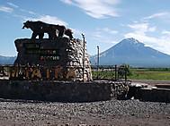 ユーラシア旅行社のカムチャツカツアー:コリャークスキー火山 (標高3456m)ホテル~空港間より