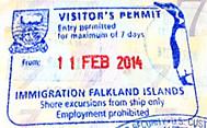 フォークランド諸島の入国スタンプ