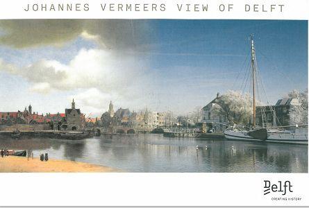 フェルメールが描いたデルフトと今が融合した絵葉書
