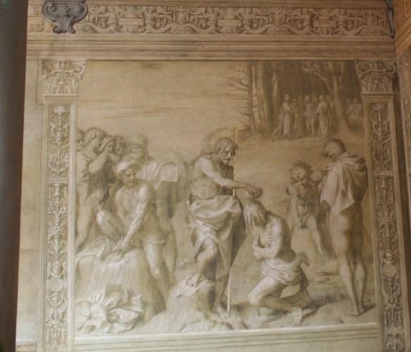 アンドレア・サルト「群衆の洗礼」(フィレンツェ、スカルツォ修道院回廊)