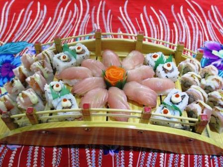 ミクロネシアの夕食の刺身