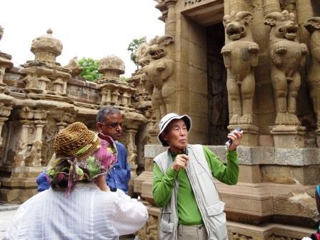 石澤良昭氏の解説で南インドも見学(カイラーサナータ寺院)