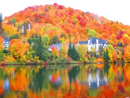 サーブル湖面に映る赤、黄、緑色の紅葉