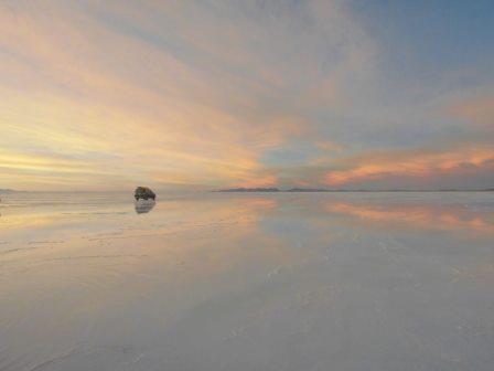 ウユニ塩湖夕陽