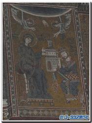 グリエルモ2世が教会を奉献する図(シチリア、モンレアーレ大聖堂)