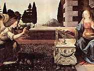 レオナルド・ダ・ビンチ『受胎告知』(イタリア、フィレンツェ、ウフィッツィ美術館蔵)